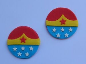 12 Edible Super Hero Wonder Woman Cake Topper Cupcake Decorations