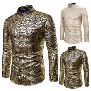 Fashion-Men-039-s-Slim-Fit-Rose-Gilding-Shirts-Long-Sleeve-Casual-Shirt