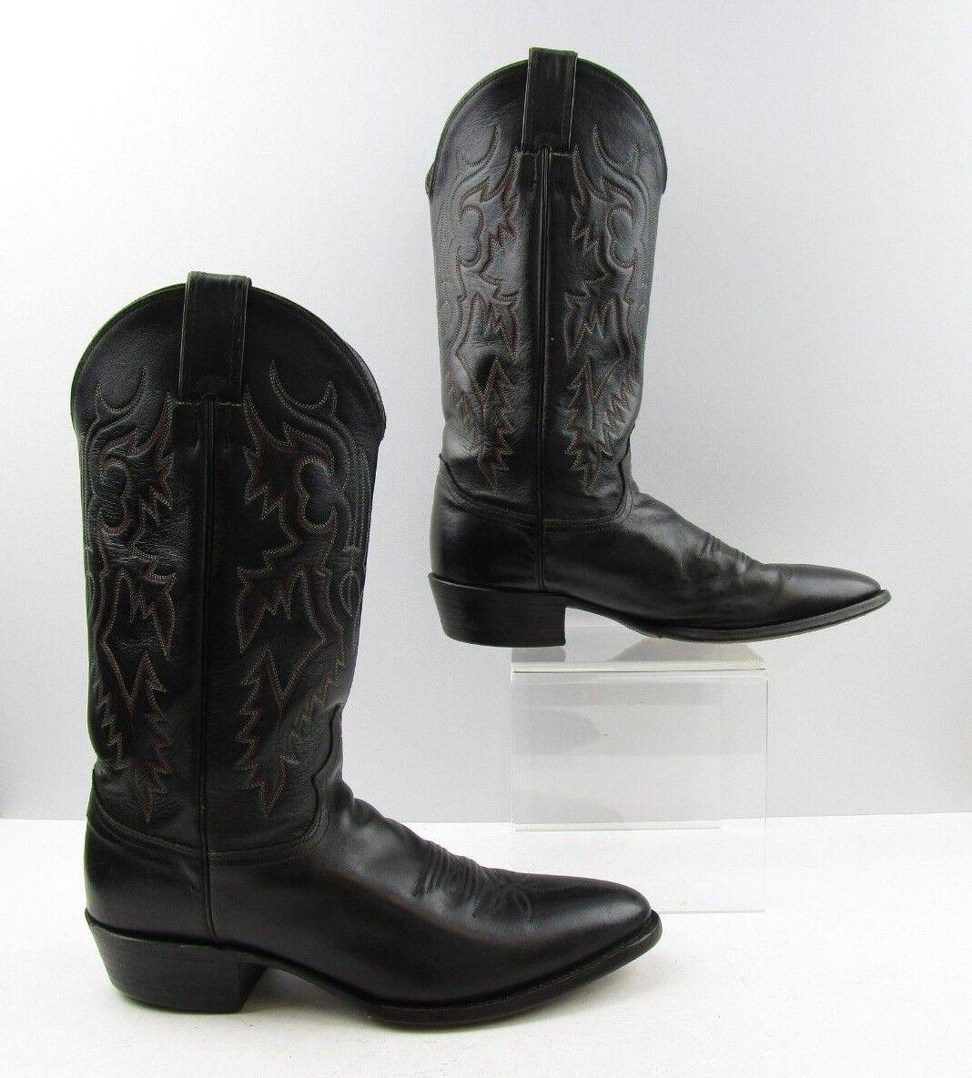 Para hombres cuero negro botas de vaquero occidental occidental vaquero Justin Tamaño: 10 B  estrecho ancho 676219