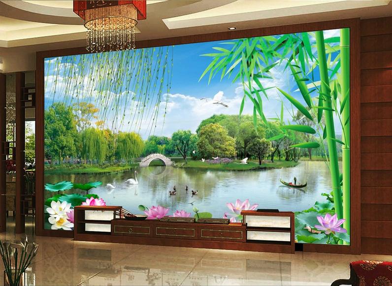 3D Bamboo Leaves 972 Wallpaper Mural Paper Wall Print Wallpaper Murals UK Lemon