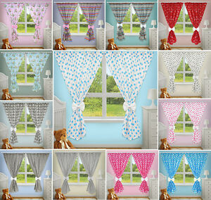 CURTAINS-WINDOW-BABY-CHILD-BEDROOM-COTTON-DECORATIVE-BOWS-NURSERY-PINCER-CLIPS