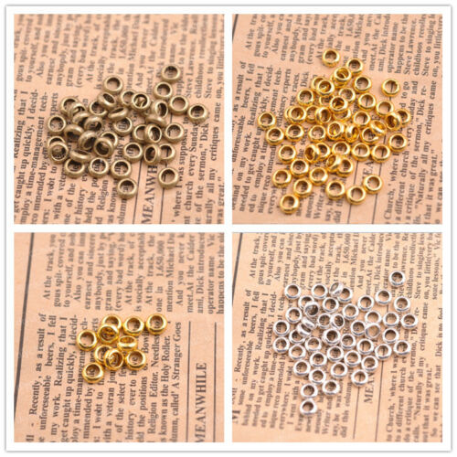 Spacer beads closed jump rings 6mm antique silver tone E3142