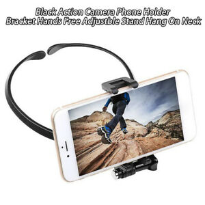 Hang-On-Neck-Action-Camera-Hands-Free-ABS-Bracket-Mount-Stand-Phone-Holder-Black