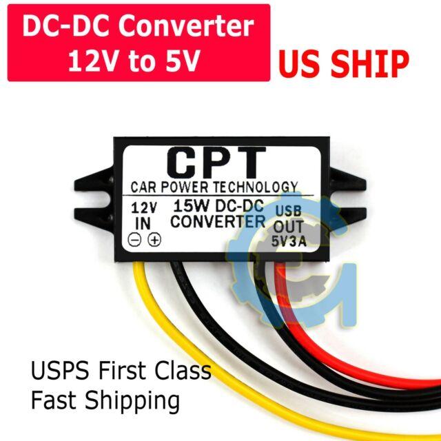 Car Boat DC-DC 12V to 5V USB 3A 15W Converter Regulator Adapter Step Down Buck M