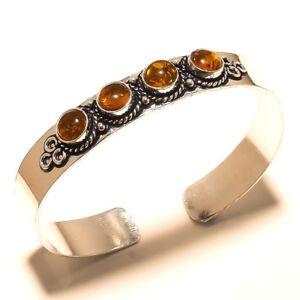 Stylish-Silver-Overlay-Amber-Cuff-Bracelet-Bangel-Gemstone-Jewelry