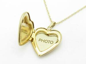 14K Yellow Gold Heart Locket Charm Pendant For Necklace or Chain