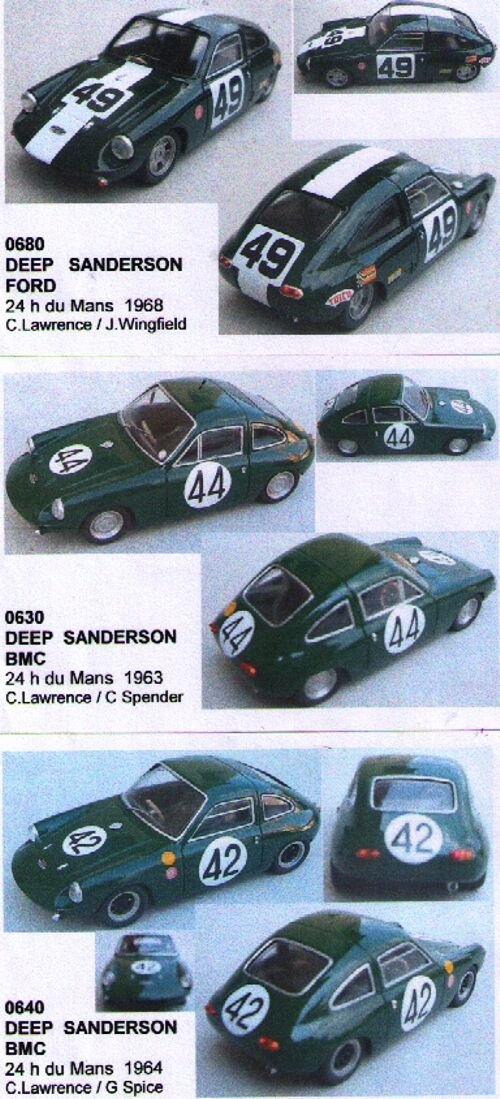 Kit 1 43 DEEP SANDERSON COFANETTO 3 AUTO 24h Le Mans 1963-64-68 Mini Racing CF50