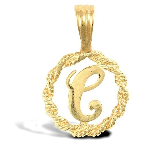 Fashion 9ct Yellow gold Womens Stunning Rope Initial C Letter Pendant 12mm New