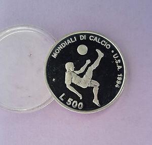 500-L-San-Marino-1994-Olympia-Fussball-USA-Fallrueckzieher-Wappen-Silber-835