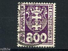 Danzig 800 Pfg. Wappen Portomarke 1923 echt gestempelt Michel 20 Attest (S9125)