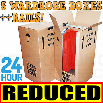 5 LARGE STRONG REMOVAL MOVING WARDROBE CARDBOARD BOXES WITH HANGING RAILS
