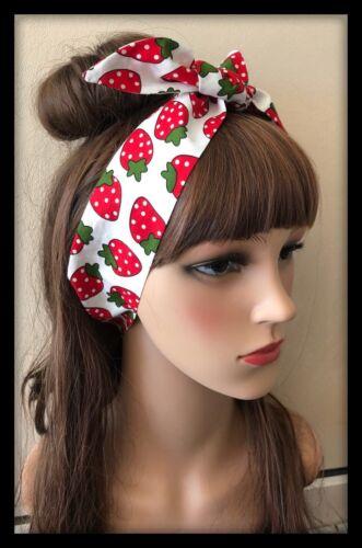 Strawberry Headband Bandana Hairband headscarf Ponytail Hair Tie Band Fabric Bow