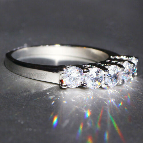 925 Silver Filled White Sapphire Birthstone Engagement Wedding Band Ring Jewelry
