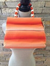 NWT Ferragamo Orange Ombré Grosgrain Ribbon Handbag