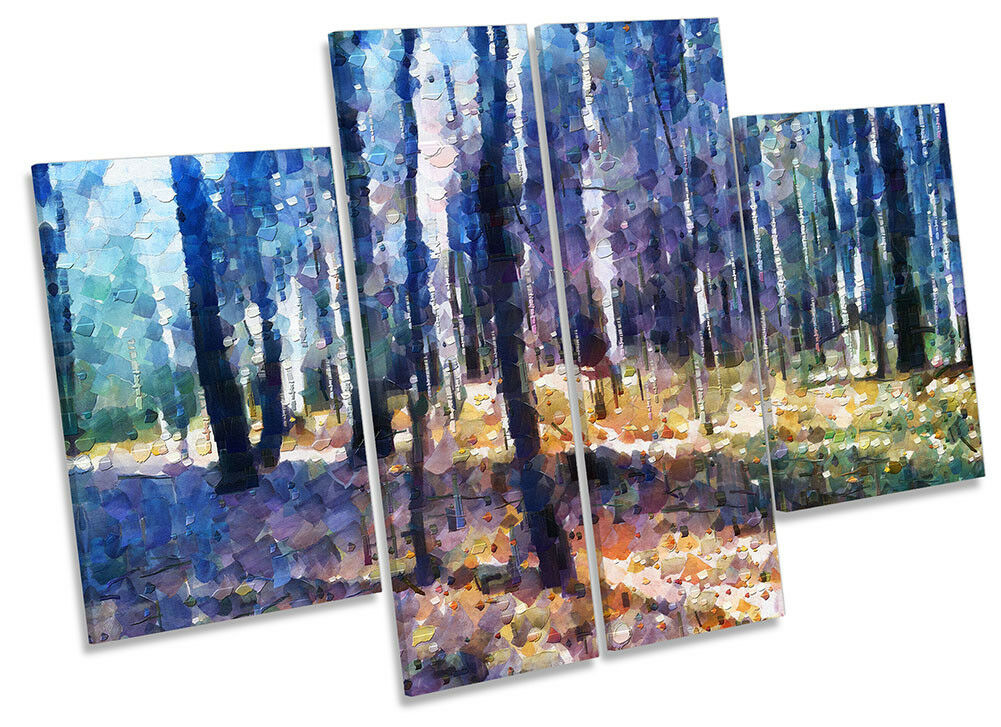 Forest Trees Abstract Blau CANVAS Wand KunstWORK Four Panel Kunst