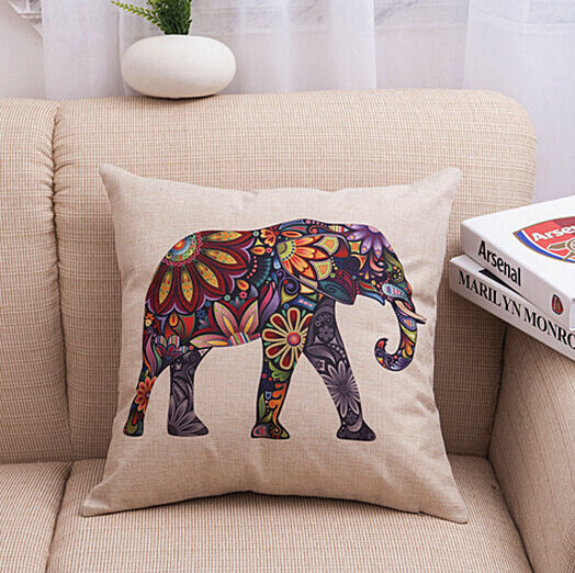 Vintage Colored Elephant Throw Decor Cotton Linen Sofa Pillow Case Cushion Cover