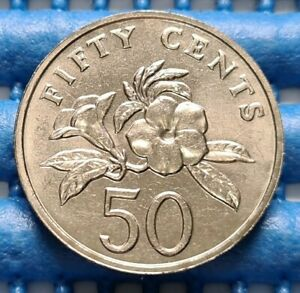 1996-Singapore-50-Cents-Yellow-Allamanda-Flower-Coin