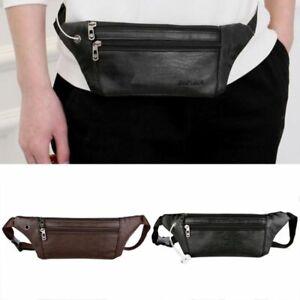 Details About Men Leather Belt Waist Pouch Pack Crossbody Shoulder Sport Zip Bag 1pc