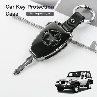 Qiilu Car Key Case Cover Shell Holder for Jeep Wrangler 08-17 Compass 08-15 Patriot 11-15 Black