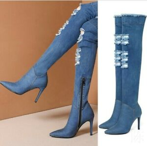528762c62ea Details about Women's Denim Ripped Jean Pattern Thigh High Over Knee Pointy  Toe Boots Clubwear