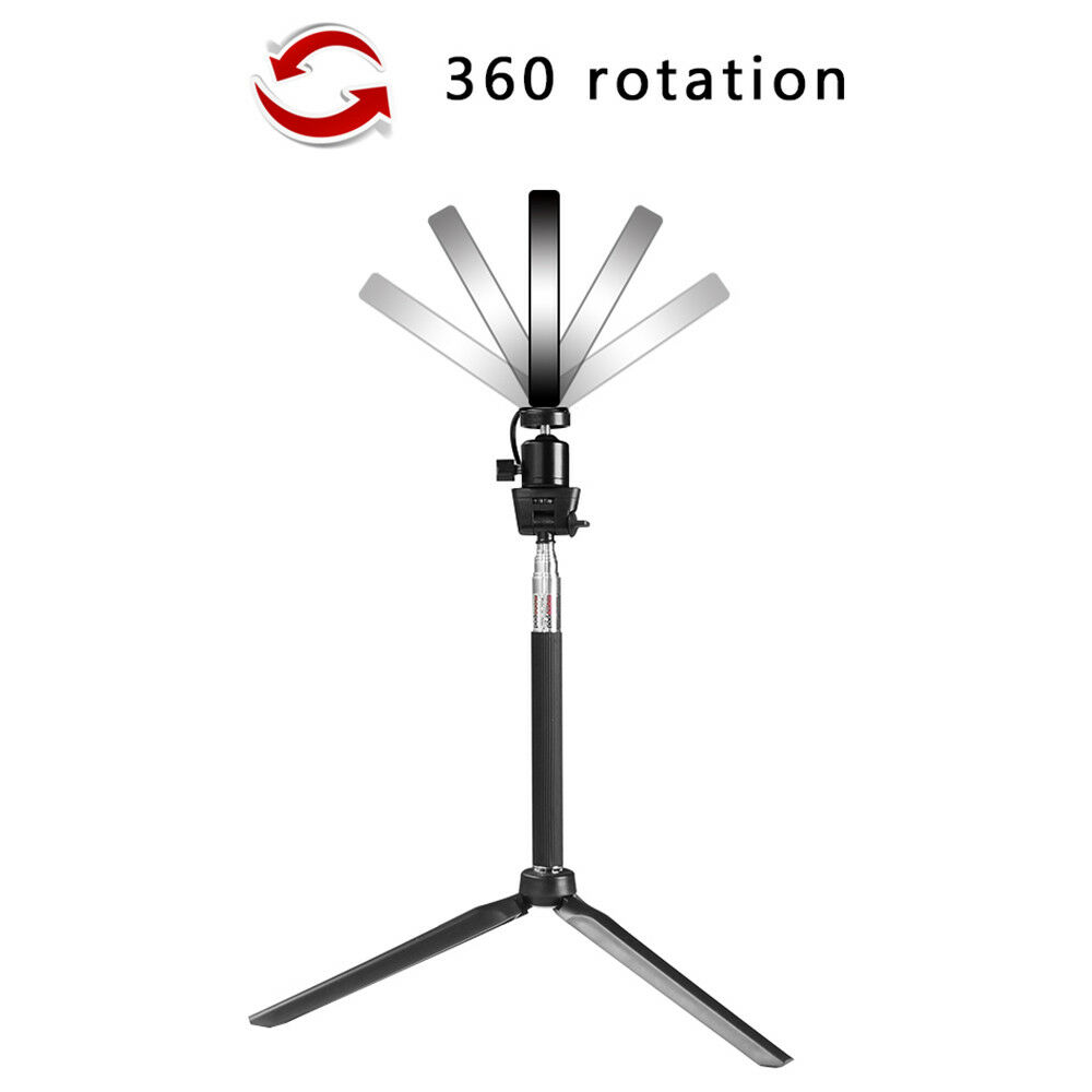 Studio LED Ring Light w/ Tripod Stand Dimmable Photo Video Lamp Kit For Camera 10
