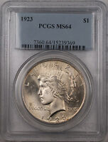 1923 Silver Peace Dollar $1 Coin PCGS MS-64 Better Coin Dye Chip Obverse(BR12 A)