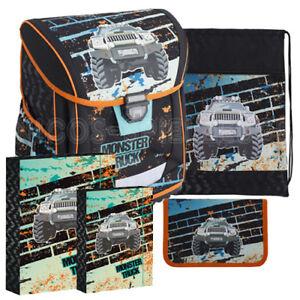 Details zu Monster Truck Schulranzen Schulmappe Tornister Schulrucksack Ranzen Set 5 teilig
