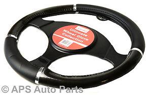 Luxury-Steering-Wheel-Cover-Chrome-Effect-Grip-Wheel-Protector-Car-Glove-Soft