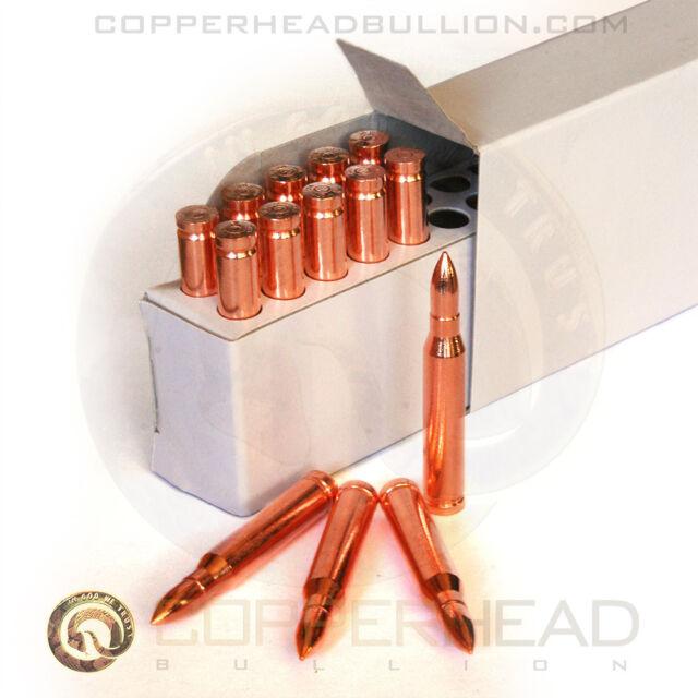 Box of (10) 1oz Solid Copper Bullets .223 AR-15 Caliber Rounds Ammo Bullion 223