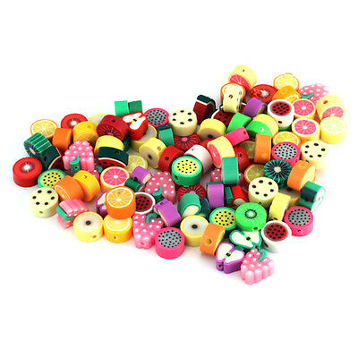 New 100pcs Mixed  Fimo Polymer Clay Fruit Beads Free PP