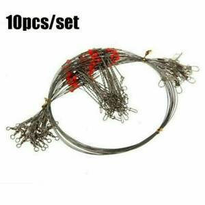 10-pcs-Stainless-Steel-Trace-Wire-Leader-Fishing-Line-Leaders-With-Snap-amp-Swivel