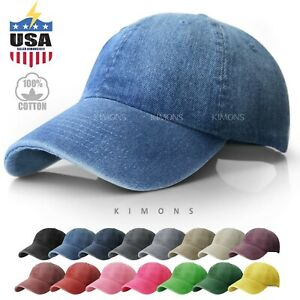 Dyed Washed Cotton New Plain Polo Style Baseball Ball Cap Hat Dad 2 Two Tone