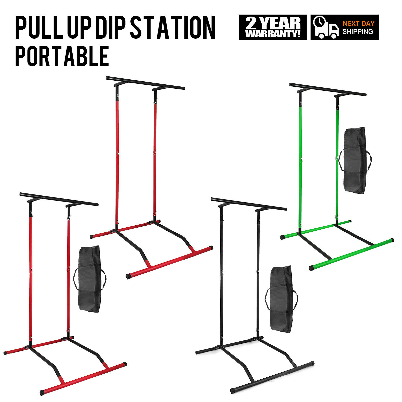 portable Pull Up Dip Station Gym Bar Power Tower w sac Training Stand UPDATED