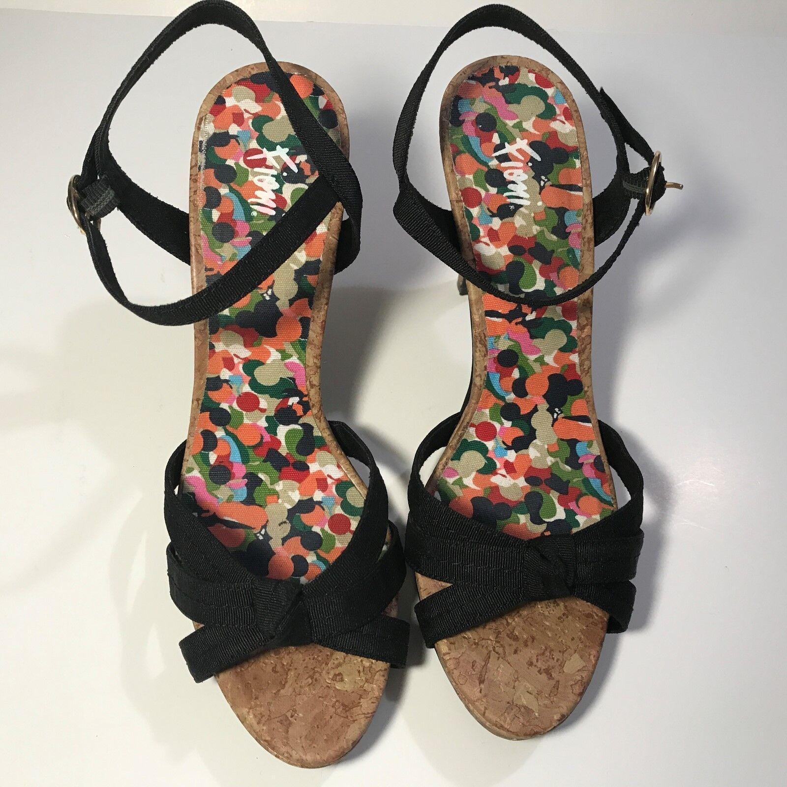 Fioni Black Women's Size 8.5 Strappy Black Fioni Fabric Heels Stiletto Shoes Floral Cork 6439a5