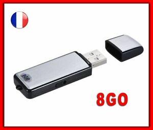 Micro Espion Clé USB Dictaphone Enregistreur 8GO Recorder Vocal Numérique