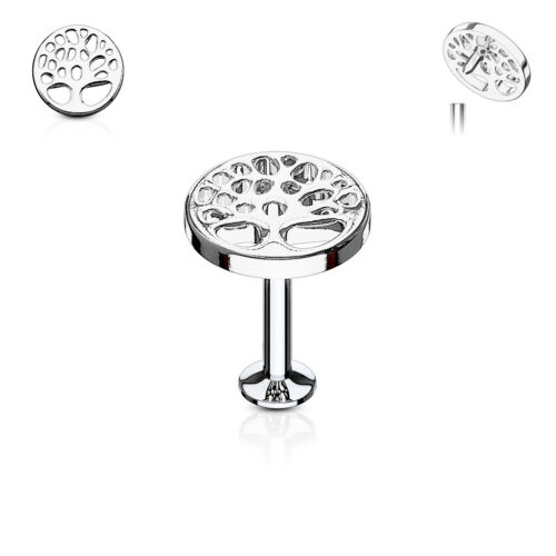Tree of Life Top Internally Threaded Surgical Steel Labret Monroe Cartilage Stud