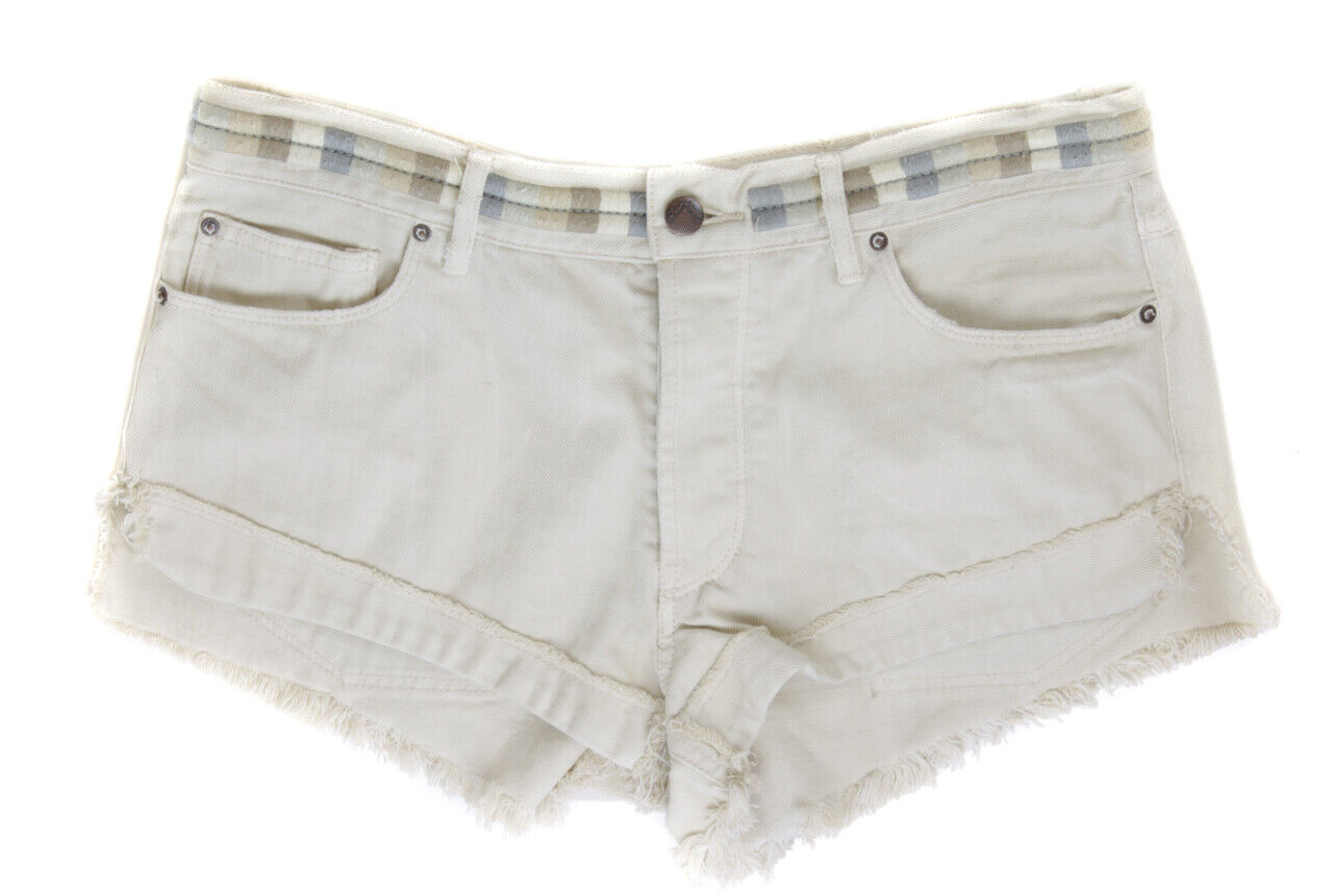 Free People Women's Ivory Booty Denim Cut Off Shorts Ret  98 New