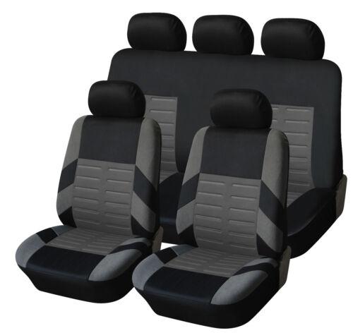 Auto negro-protector asientos fundas para asientos rayas grises de alta calidad poliéster
