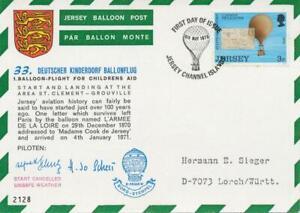 JERSEY-1973-Balloon-Post-Card-Childrens-Aid-33-Deutscher-Kinderdorf-Ballonflug