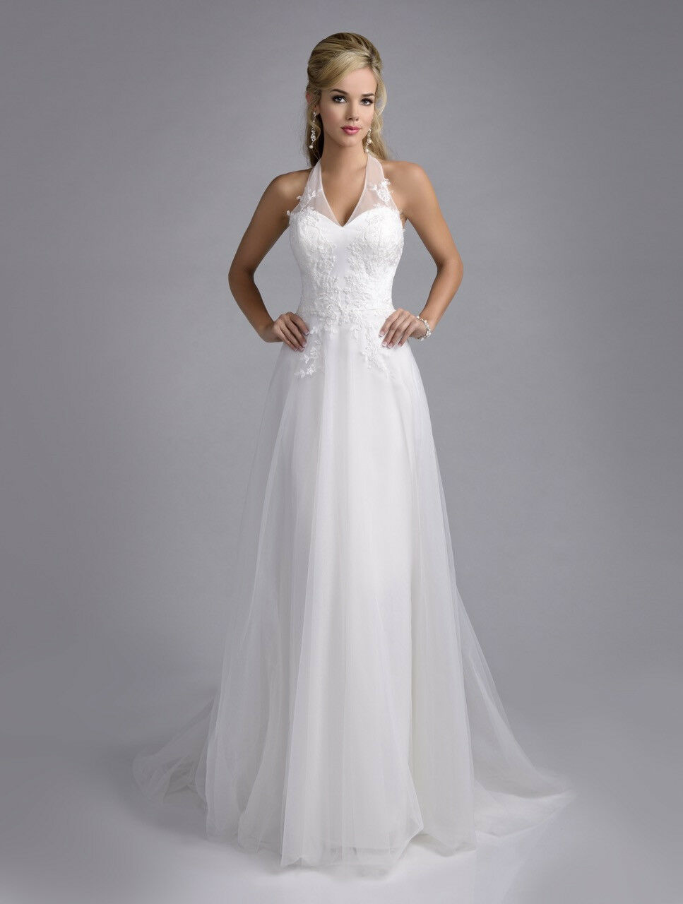 sexy halter a line backless beach wedding dress bridal
