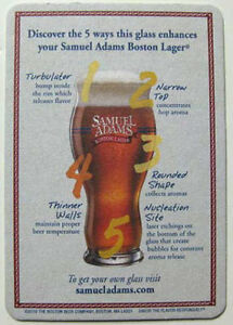 SAMUEL-ADAMS-BEER-Coaster-MAT-5-Ways-Glass-Boston-MASSACHUSETTS-2010-issue