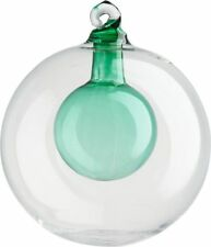 NWT Crate & Barrel CB2 Hand Blown Glass Bulb in Ball Orb Xmas Ornament Aqua Blue
