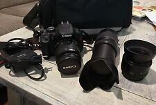 Canon EOS Rebel T3i w/ 3 LENSES !! EOS 600D 18.0MP DSLR Camera - Black