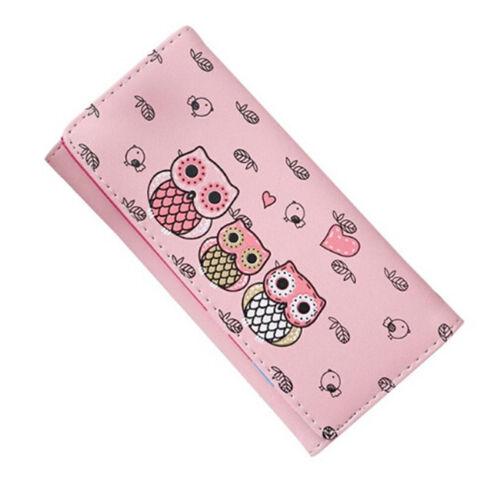 Girs Women Retro Owl Printing Coin Purse Long Wallet Card Holders Handbag N3