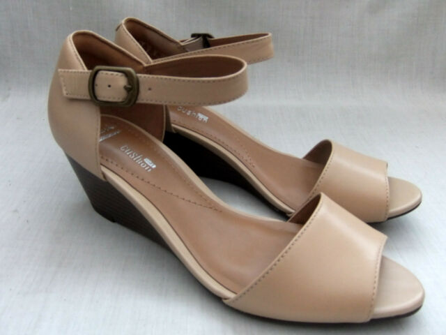 f83c7ef64ad5 Clarks BRIELLE Drive Nude Leather Ladies Wedge Sandals Various Sizes ...