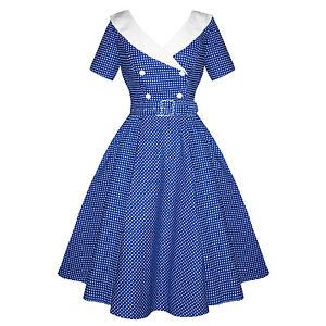 Hell-Bunny-Claudia-Blue-Polka-Dot-Nautical-1950s-Rockabilly-Vintage-Summer-Dress