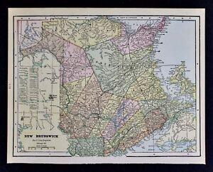 C 1900 Cram Map New Brunswick Canada Fredericton Chatham Bathurst