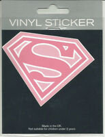 DC COMICS PINK SUPERMAN/SUPERGIRL LOGO VINYL STICKER