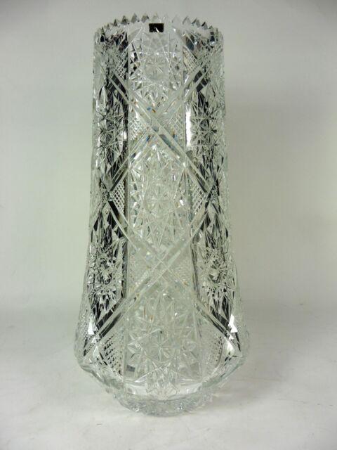 Vintage Cut Crystal Vase Glass Stars Crystal