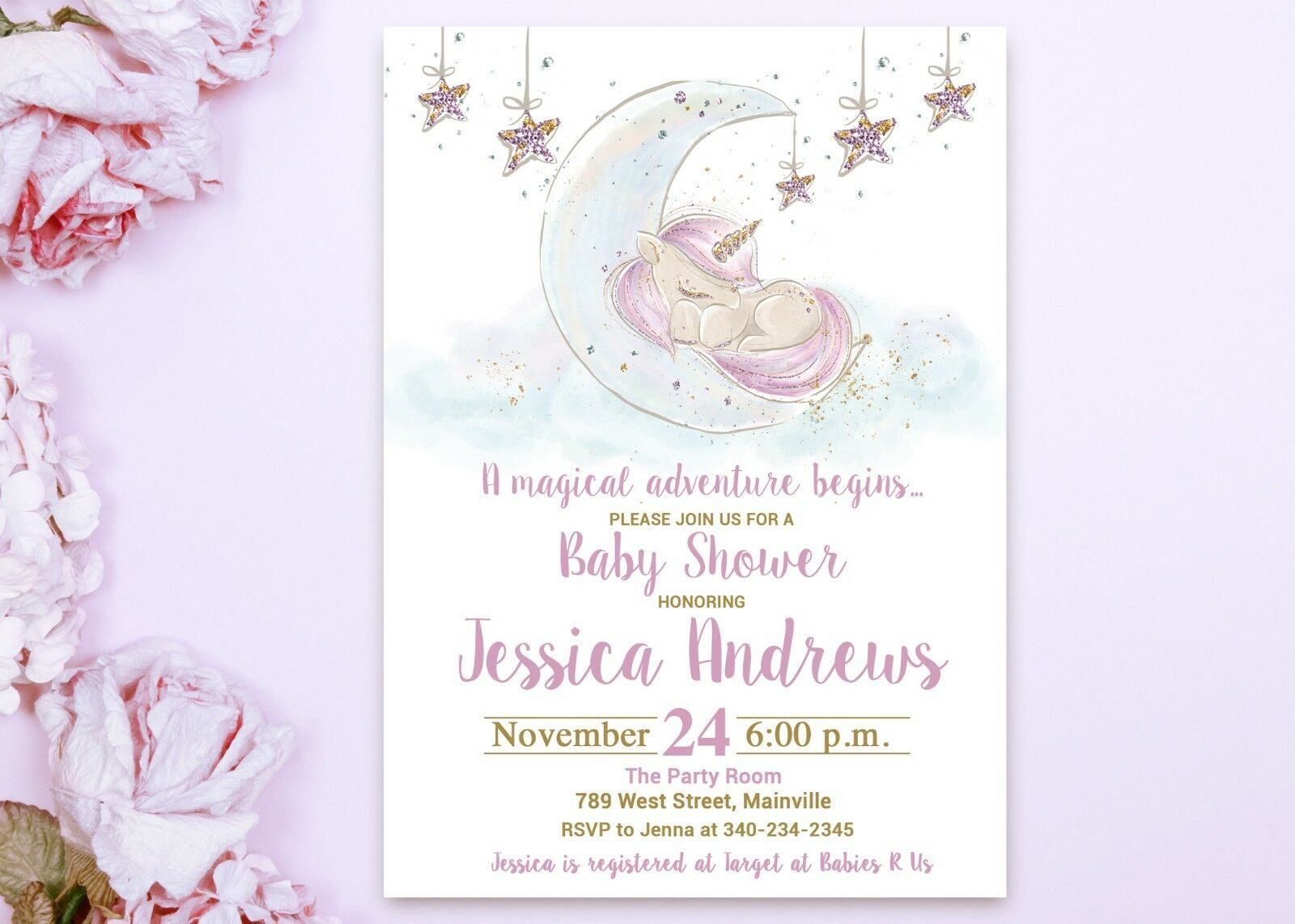 Unicorn Baby Shower Invitation, Invitation, Unicorn, Baby Unicorn, Baby Shower